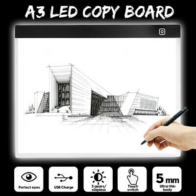 A3 LED Tracing Art Craft Copy Board Bright Light Box Drawing 5mm Pad+USB Cable