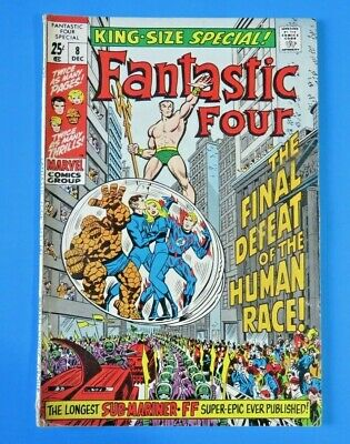Fantastic Four #8 King-Size Special ~ 1970 Marvel Bronze Age Comic Book ~ Fn