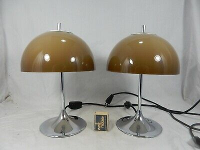 Cool set of two 70´s design WILA Tischlampen / table lamps tulip base