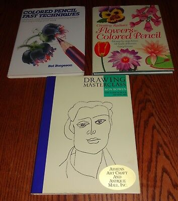 Used 3 Book Lot Art Flowers in Colored Pencils Fast Techniques Drawing