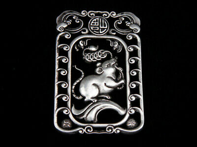 Tibetan Silver Highly Detail Crafted Pendant Zodiac Mouse w/ Bats Blessing FU
