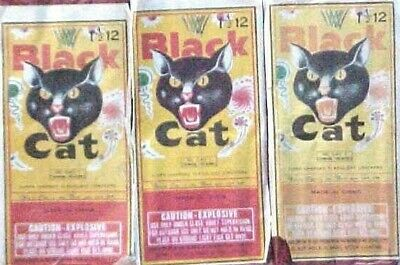 3 Vintage Black Cat Lady Crackers/Fingers Firecracker Labels Only