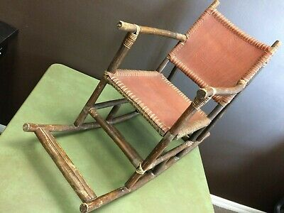 Antique Handmade Childrens Rocker With Alligator Skin And Bamboo