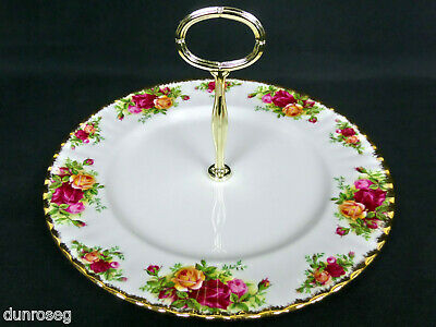 """OLD COUNTRY ROSES 26cm,10"""" CAKE / SANDWICH STAND, 1973-93, ENGLAND, ROYAL ALBERT"""