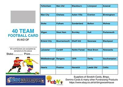 Pack of 20 Fund Raising Charity Event Football Scratch Cards 40 Team FULL COLOUR