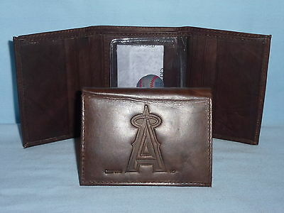 LOS ANGELES ANGELS of ANAHEIM   Leather TriFold Wallet   NEW    dark brown 3v nd