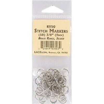 "Lacis Brass Ring Stitch Markers-3/8"" 50/pkg"