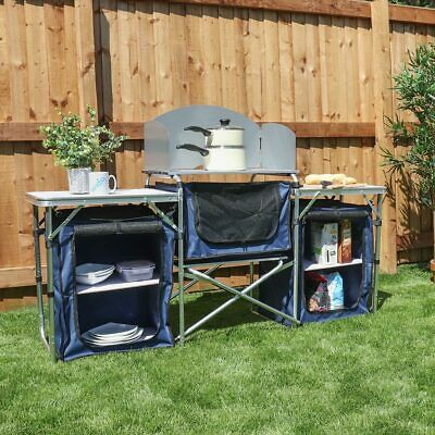 Deluxe Camping Kitchen Unit Stove Stand Table Cupboard Storage Outdoor Fold Wido