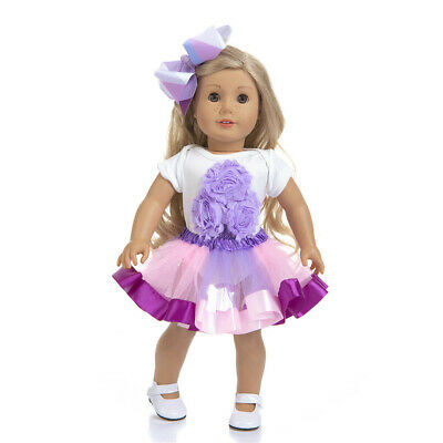 Girl Doll Tutu Dress Outfit Hair Clip Clothes for America 16''-18 Inch Doll 3PCS