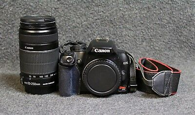 Canon EOS Rebel XS DSLR Camera w/55-250mm Lens, Charger, SD & 2 Batteries