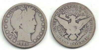 1906 Silver Barber Half Dollar (50-cent Coin) in Good+ Condition ~