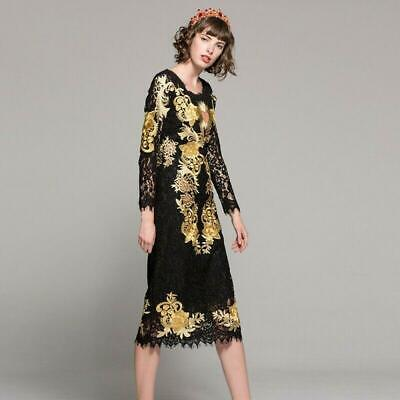 Womens Gold Embroidery Slim Black Lace Hollow Out Sexy Long Dresses Fashion NEW