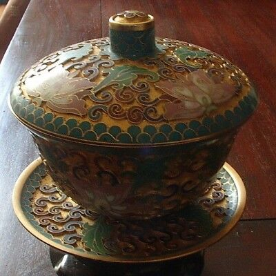 Antique Tea Cup With Cover And Plat Enameled Bronze Chines