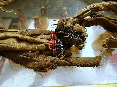 An Antique Tribal Hemp Cloth Head Wrap or Belt Sash Beads Bronze