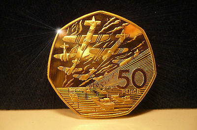 1994 50p D DAY NORMANDY LANDING BATTLE OF BRITAIN COIN in GOLD UNC CONDITION NEW