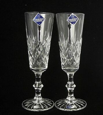 """Pair of Edinburgh Glass Crystal Fluted Champagne Glasses 7.5""""h"""