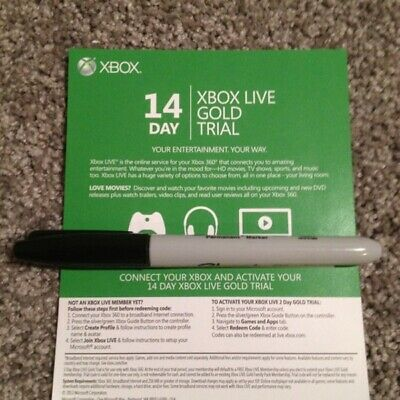 Microsoft Xbox Live 14 Days Trial Subscription Code Card