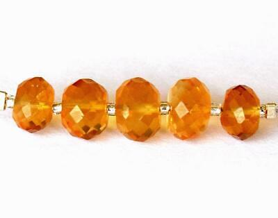 7 - 8 Mm Natural Fine Citrine Beads Faceted Rondelle 5 Pcs Loose Beads #D17197
