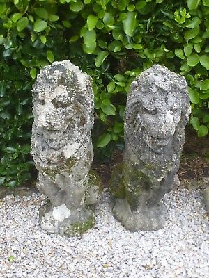 Fantastic Pair of Vintage Cast Stone Well Weathered Sitting Lions Garden Statues