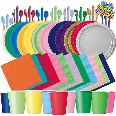Plain Solid Colours PARTY TABLEWARE Birthday/Events/Catering/Wedding/Occasion