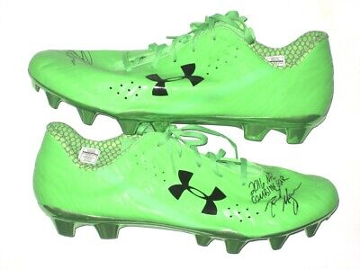 f9d40a84e0c David Morgan 2016 Nfl Combine Issued   Signed Neon Green Under Armour Cleats