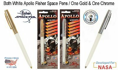 TWO (2) Fisher Apollo Series Space Pens in White / One Chrome & One Gold