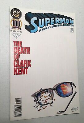 Superman The Death Of Clark Kent Comic Book  100 (May 1995) Centennial Edition