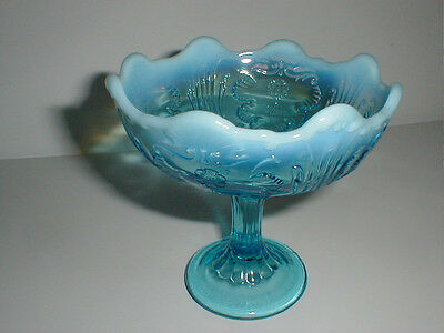 Northwood Blue Opalescent Glass EVERGLADES Jelly Compote 1904