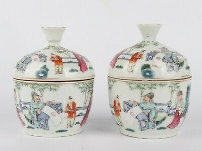 A Pair Of Antique Chinese Porcelain Cups With Figure And Mark