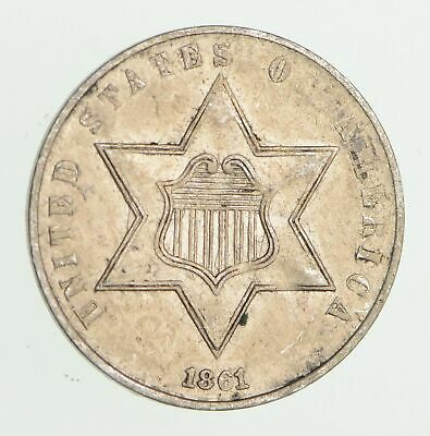 1861 Silver Three-Cent Piece - Circulated *7490