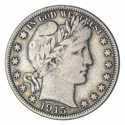 1915-S Barber Head Silver Half Dollar - Circulated *8860