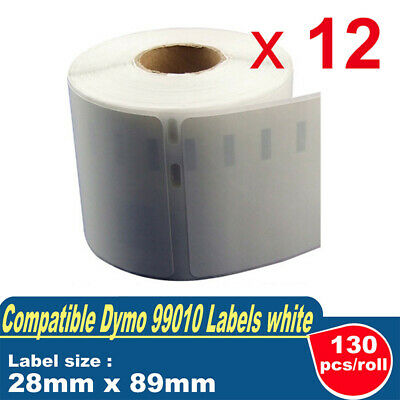 12 Compatible for Dymo / Seiko 99010 Label 28mm x 89mm Labelwriter 400/450 Turbo