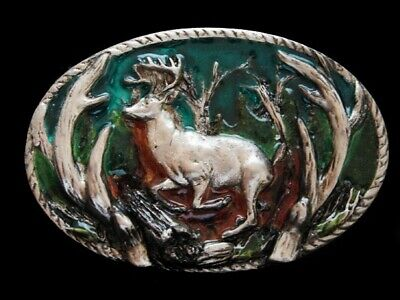 Nf19138 *Nos* Vintage 1986 **Big Buck Deer** Hunting Pewter Belt Buckle