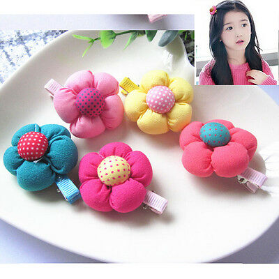 5 Pcs Cute Flower Hair Clips Kids Candy Color Hairpins For Baby Kids Girls HF