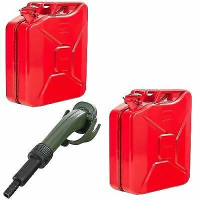 2 x Red 20 Litre Metal Jerry Cans For Fuel / Petrol / Diesel / Gas / Oil & Spout