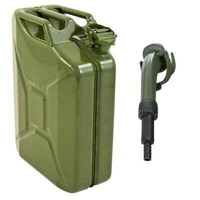 Green 20 Litre Metal Jerry Can For Fuel / Petrol / Diesel / Gas / Oil With Spout