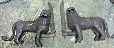 #14c antique ISLAMIC 24K GOLD INLAY IRON CARVED SWORD PAIR LION ottoman Statue