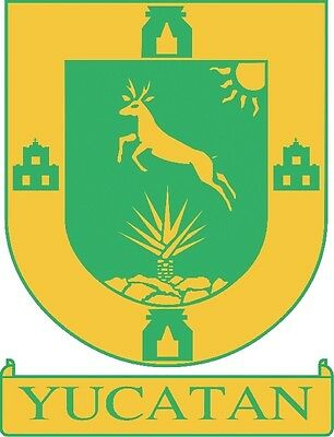2 (PCS) Yucatan  Mexico. Coat Of Arms Decals Stickers Full Color/Weather Proof