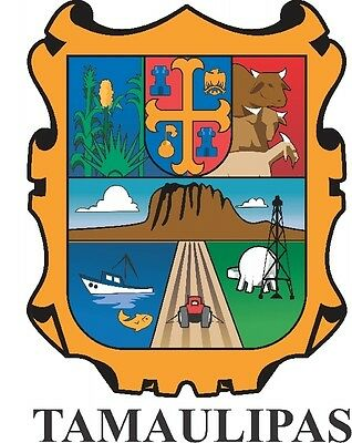 2 (PCS) Tamaulipas Mexico. Coat Of Arms Decals Stickers Full Color/Weather Proof