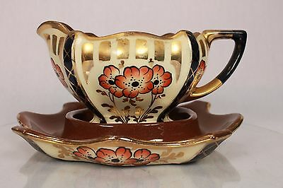 Vintage Heavy Gilded Cream Milk Jug Gravy Boat On Serving Dish Hand Painted