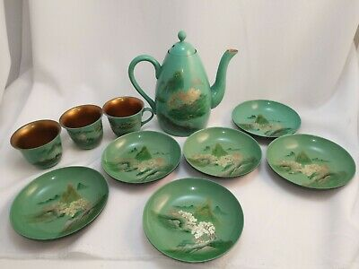 Japanese Lacquered Wooden Gilt 10 Piece Hand Painted Tea Set cups plates teapot