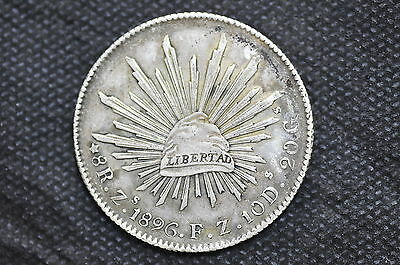 Mexico - Republic 1896 Zs FZ 8 Reales Silver Coin ( Weight : 26.99 g ) C118