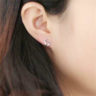 Solid Silver Color Classic Crystal Stud Earrings Cubic Zirconia Clear Ear GiftLA
