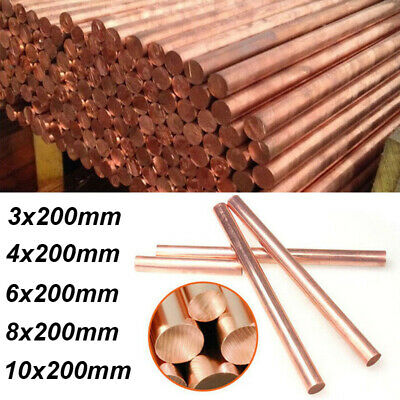 99.9% T2 Pure Copper Rod Metal Round Solid Bar 200mm Long 3/4/6/8/10mm Diameter