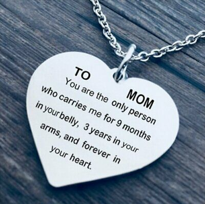 TO MOM Heart Love Lettering Pendant Necklace Charm Mother's Day Gifts Jewelry