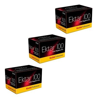 3 Pack Kodak Professional Ektar Colour Print Film 35mm 135-36 Exposures 100ASA