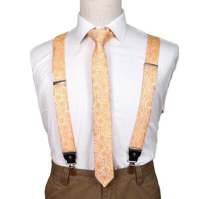 Epoint Mens Fashion Suppliers Patterns Microfiber For Mens Suspender Skinny Tie Set EFDB0032