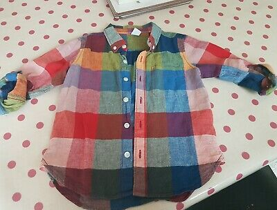 Baby Gap boys linen checked shirt age 4 years