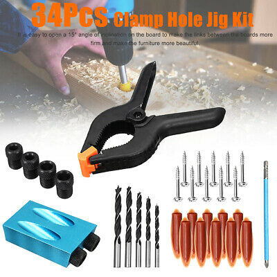 34pcs Pocket Hole Jig Step Drill Woodworking Carpentry Kit For Kreg Joinery Tool