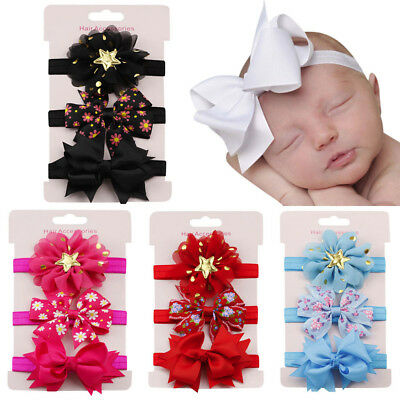 3PCS Kids Elastic Floral Headband Hair Girls Baby Bowknot Hairband Set Sale